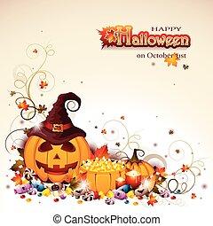 o', halloween, cricco, fondo, lanterna
