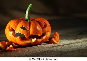 o', halloween, geschnitzt, wagenheber, laterne