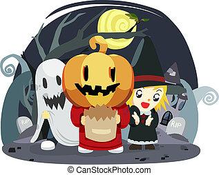 o, halloween, truco, niños, gusto