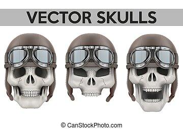 o, helmet., aviador, retro, conjunto, humano, biker, cráneos