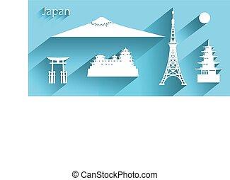 o, icono, largo, símbolo, japón, shadow.
