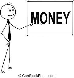 o, indicare, testo, segno, soldi, uomo affari, cartone animato, uomo