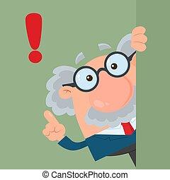 o, intorno, professore, carattere, cartone animato, dall'aspetto, scienziato, angolo, consiglio