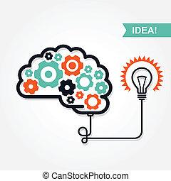 o, invenzione, idea, affari, icona