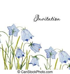 o, invitación, card., mano, bluebell, saludo, vector, ...