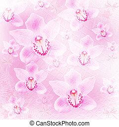 o, invitación, tarjeta, arco, felicitación, orquídeas