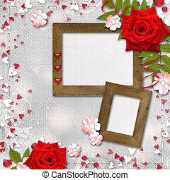 o, invitación, tarjeta, rosas, corazones, rojo, felicitación