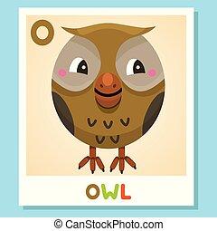 O is for Owl. Letter O. Owl., cute illustration. Animal alphabet.