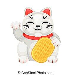 o, japonés, hacer señas, estatuilla, maneki-neko, gato, traer, ilustración, suerte, vector