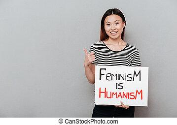 o, kobieta, feminism., tekst, dzierżawa, czysty, szczęśliwy