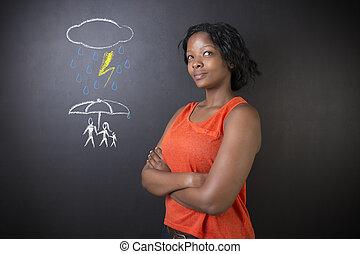 o, kobieta, naturalne nieszczęście, rodzina, myślenie, nauczyciel, amerykanka, student, afrykanin, broniąc, albo, południe