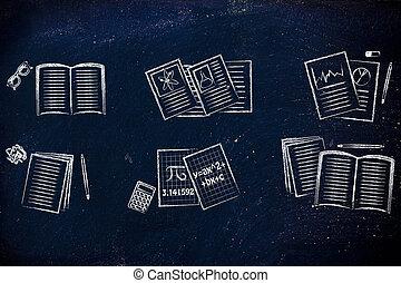 o, komplet, notatki, szkoła, różny, książki, motywy