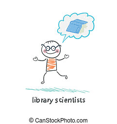 o, książka, myśleć, biblioteka, naukowcy