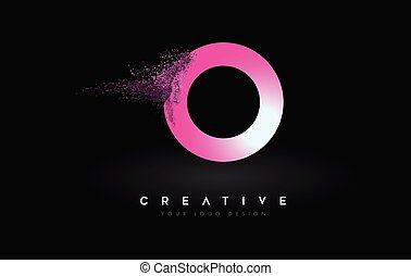 O Letter Logo with Dispersion Effect and Purple Pink Powder ...