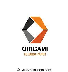 O letter vector icon for origami studio