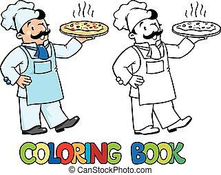 o, libro, pizza, cocinero, chef, colorido, divertido