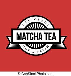 o, logotipo, señal, vendimia, té, machta