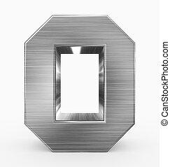 o, métal, 3d, isolé, lettre, cubique, blanc