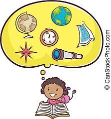 o, mały, książka, koźlę, dziewczyna czytanie, geografia