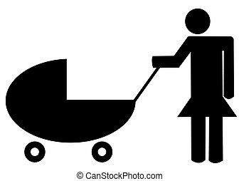 o, madre, carrozzino, passeggino bimbo, illustrazione, -, spinta