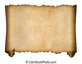 o, manoscritto, isolato, pergamena, invecchiato, rotolo