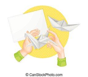 o, mestiere, origami, fatto mano, vettore, carta piegando, arte, illustrazione, occupato, mani