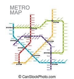 o, metro, sottopassaggio, disegno, mappa
