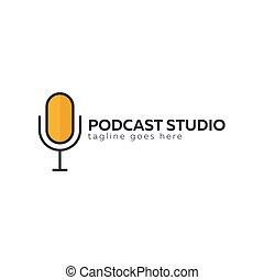 o, mic, logotipo, estudio, icon., micrófono de radio, ...