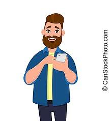 o, mobile, concept., giovane, illustrazione, style., telefono, vettore, presa a terra, usando, cartone animato, smartphone., uomo