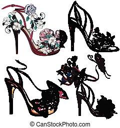o, moda, sandalias, hembra, conjunto, colección, shoes, vector, hermoso