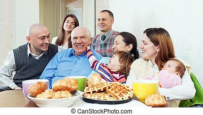o, multigeneration, amici, famiglia felice, gruppo