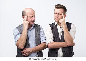 o, myślenie, mężczyźni, dwa, razem, dojrzały, problem