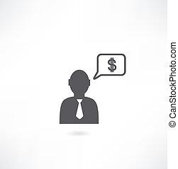 o, myślenie, pieniądze, krawat, człowiek, ikona