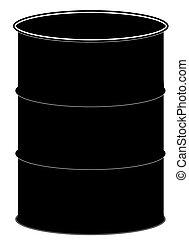 o, nero, barile, gallone, cinquanta, tamburo, silhouette