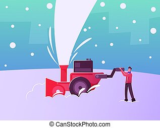 o, nieve, calle, exterior, feliz, carácter, después, traspatio, limpieza, suelo, macho, snowblower, trabajando, nevada, casa