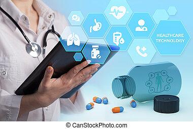 o, nowoczesny, inteligencja, sztuczny, healthcare, technologia, analiza, patients., diagnosis., medyczny, pomoc, dane, zdrowie
