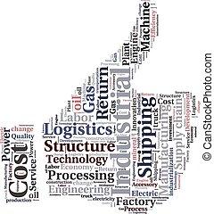 o, nube, texto, industrial, logística, conceptual, tagcloud...