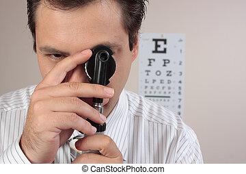 o, optometrista, cirujano, oftálmico