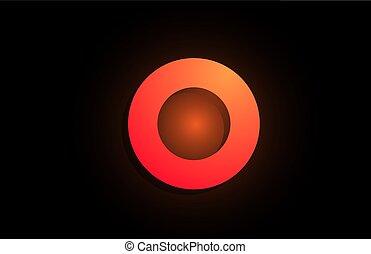 O orange black logo letter alphabet for company icon design