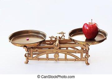 o, píldoras, manzana