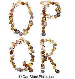O-P-Q-R alphabet letters from the coins