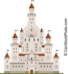 o, palacio, medieval, castillo, fairytale