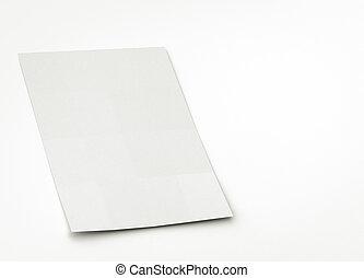 o, papel, hoja, folleto, blanco