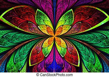 o, patrón, multicolor, mariposa, fractal, flor, simétrico