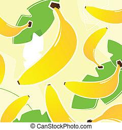 o, patrón, textura, tropical, banana:, fruta, fresco, (, amarillo, gre