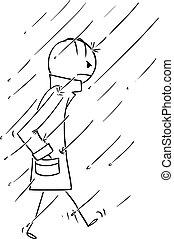 o, pesado, ambulante, sobretodo, llevando, abrigo lluvia, impermeable, envuelto, hombre, vector, abrigoligero, caricatura, sobretodo