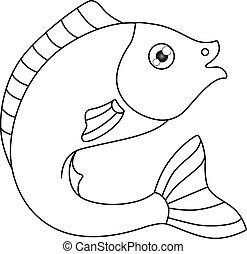 o, -, pets., tema, libro, fish., acquari, curvo, vettore, mano, circa, marino, coloring., fish, outline., illustrazione, gracefully, lineare, coloritura, drawing.