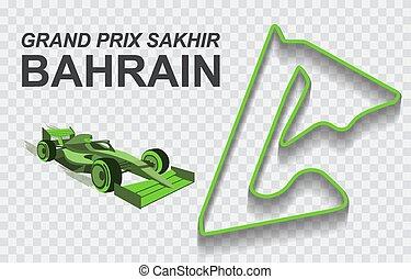 o, pista, magnífico, detallado, fórmula, prix, nacional, circuito, bahrein, carrera, f1., pista, 1
