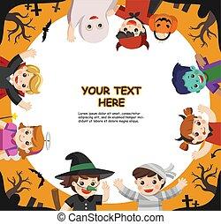 o, plantilla, brochure., treating., feliz, halloween, ...