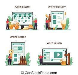 o, plataforma, en línea, servicio, jarra, vidrio, set., botella, cerveza, vendimia